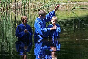 Baptism in a lake photo